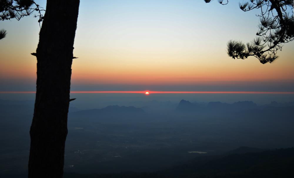 พระอาทิตย์ขึ้นแบ่งเส้นขอบฟ้าที่ผานกแอ่น