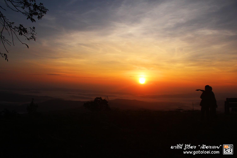 พระอาทิตย์ขึ้น ที่เนิน 1408 อุทยานแห่งชาติภูสวนทราย