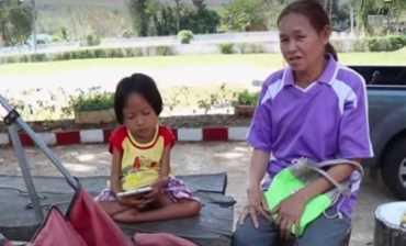 เด็กหญิงวัย 7 ขวบ แม้ตัวจะพิการแต่ใจสู้อยากเรียนหนังสือ