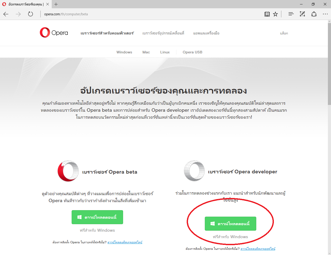 ดาวน์โหลดซอฟแวร์  เบราว์เซอร์ Opera developer